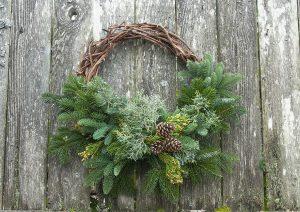 Wreath with Wicker & Fresh Greens